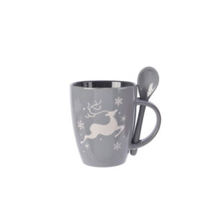 Mug in porcellana con cucchiaino Grigia