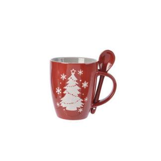 Mug in porcellana con cucchiaino Rossa