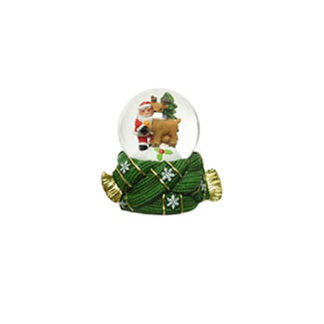 Palla con neve Natalizia Verde cm. 7