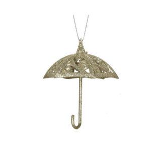 Decoro Ombrellino Glitterato Oro cm. 11,5